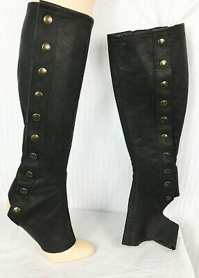 Strumpettes Tall Spats Women Steampunk Edwardian Victorian Style Leather Black
