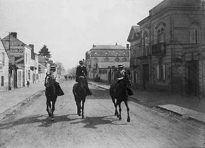 OLD PHOTO Three Women Riding Down A Street In The French Town Of Saumur 1909