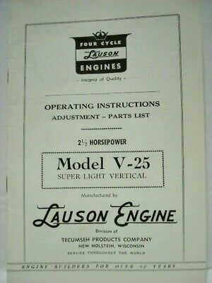 Lauson Engine V25 Operating Instructions & Parts List Manual