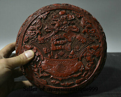 """8"""" Qianlong Marked Old Red Lacquerware Qing Dynasty treasure bowl jewelry Box"""