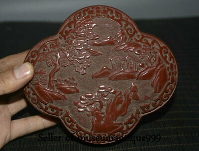 """6"""" Old China Red Lacquerware Dynasty Hill River scenery rhombus jewelry Box"""