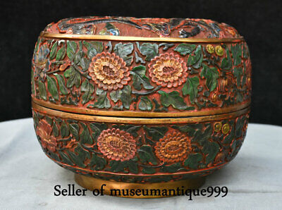 "10.4"" Marked Old lacquerware Painted Qing Dynasty Double Dragon jewelry Box"
