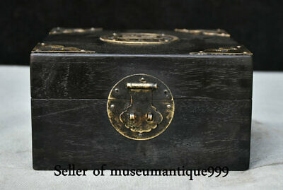 """6.4"""" Ancient China Copper Wood Dynasty Hand Carved jewelry Box cabinet casket"""