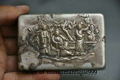 8.5CM Marked Old China Miao Silver Dynasty People Man Woman ink cartridge Box W