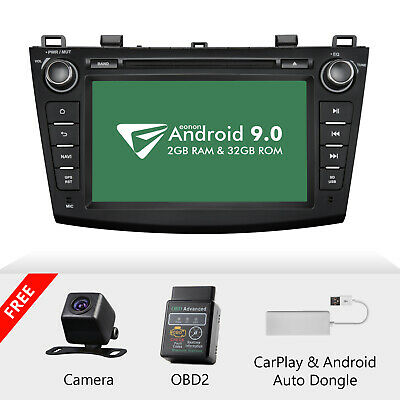 "CAM+OBD+CarPlay+Android 9.0 8"" Car Stereo GPS Radio DVD For Mazda 3 Mazda3 10-13"