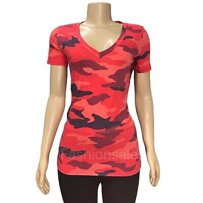 VICTORIAS SECRET Pink Everyday Camouflage V-Neck Tee T-shirt Top Red-Multicolor