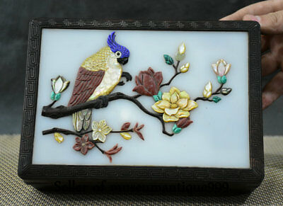 20CM Old Chinese Wood Inlay Jade Shell Dynasty Flower Bird jewelry Box cabinet