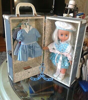 "Vintage 1950's CASS TOYS GRAY & White Doll Case Trunk w/DOLL made in ITALY"" RARE"
