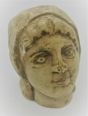 Circa 200-300Ad Ancient Roman Marble Statue Fragment Head Of Young Lady Rare