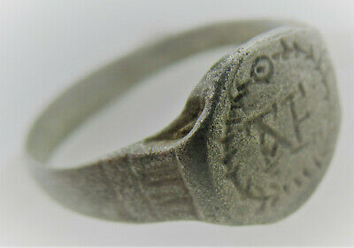 Ancient Byzantine Ar Silver Seal Ring With Monogram 'Ae' Crusaders Ring