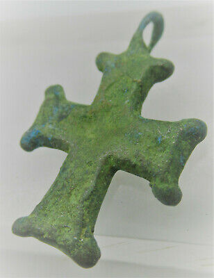 Superb Ancient Byzantine Bronze Crusaders Cross Amulet Wearable