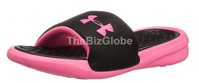 Under Armour Girls' Kids Playmaker Fix Slides Black/Pink