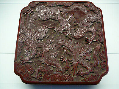 Beautiful Chinese lacquer cinnabar square covered box with dragons 18th/19th C