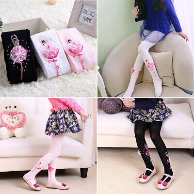 Toddler Kids Girls Slim Fit Stretch Cotton Warm Hosiery Printed Stockings Tights