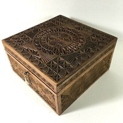 VICTORIAN Walnut Intricately Carved Trinket Box Brass Fittings Stamped VR