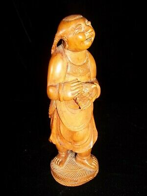 Antique Australia Tasmania Pillinger Hand carved Wood Man holding Echidna 1870