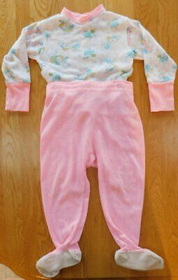 Vintage Girls TODDLETIME JcPenney Snap 2-pc Pajamas~Size 3 Bunny Rabbit Pink