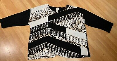 Zenergy By Chico's Women's Shirt Size 3 Black Brown White Animal Print