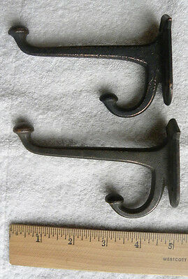 2 Old Original Patina Farm House, Barn, Country School 2 Prong COAT, Hat HOOKS