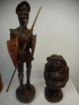 "Don Quixote 20"" & Sancho Panza 10"" Outstanding Wood Carved Vintage Figures!"