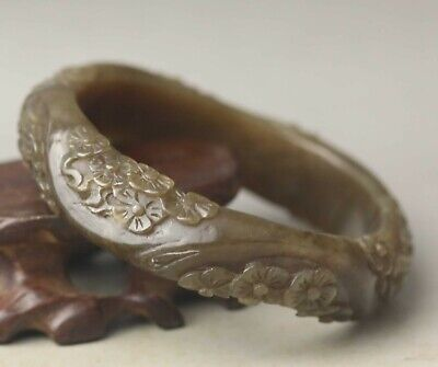 China natural old hetian jade bangle hand carved jade flower Bracelet