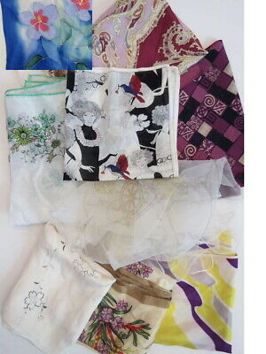 Ten Vintage Scarves - Silk, Rayon, Cotton