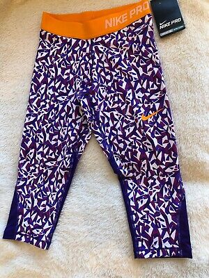 Nike Pro Girls Capri Leggings 10-12 Years Purple. Brand New With Tag