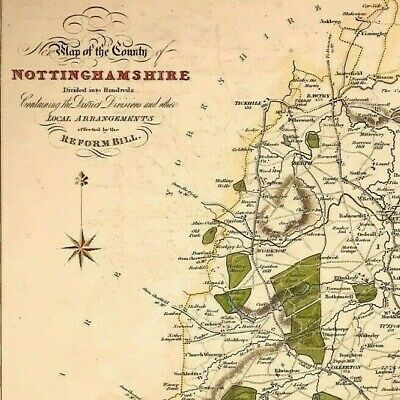 Map of NOTTINGHAMSHIRE towns, gentleman houses election poll reform bill c1833