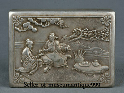 9.5CM Old Chinese Miao Silver Dynasty Man Immortal God ink cartridge Box