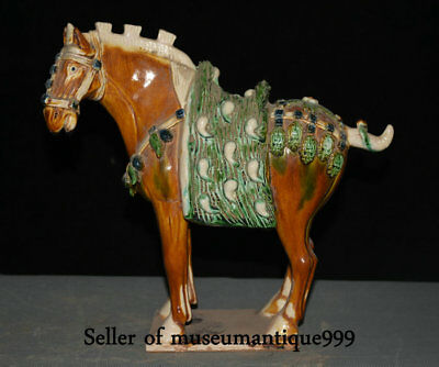 "10"" Old Chinese Tang Sancai Porcelain Pottery Dynasty War Horse Animal Sculpture"