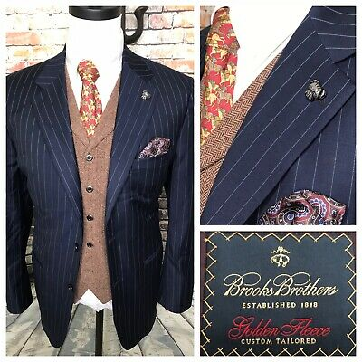 Brooks Brothers Golden Fleece Bespoke Navy Blue Pinstripe Jacket Mens Size 42 R