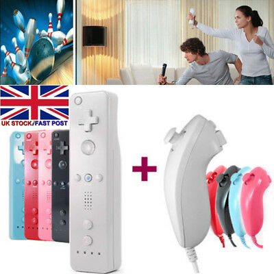 Remote and Nunchuck Game Controller WITH Motion Plus inside For NINTENDO WII -M