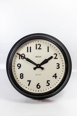 Vintage Industrial Large Metal Smiths Sectric Factory Railway Wall Clock