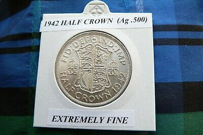 EXTREMELY FINE or BETTER? 1942 HALF CROWN  (Ag .500)    George VI   pre 1947