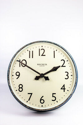 Vintage Industrial Huge Metal Magneta Electric Factory Railway Wall Clock