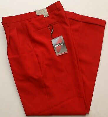 Pacelli Uomo Moda Men's Red Dress Pants Trousers, Pleated, Size 34X34, NEW