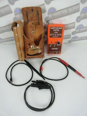 ETCON LT130 LAMP & VOLTAGE TESTER with Lead Assemblies & Leather Carrying