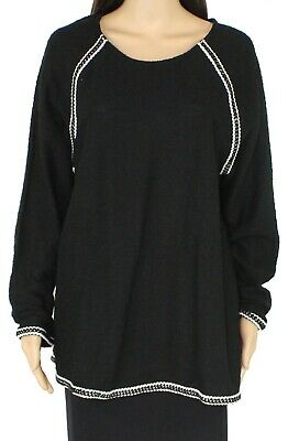 Style & Co. Womens Sweater Black 3X Plus Contrast-Trim Raglan Crewneck $56 187