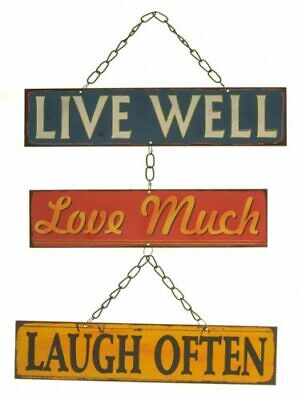 Retro Metal Hanging Wall Quote Live Well Love Much Laugh Often Plaque Sign Art