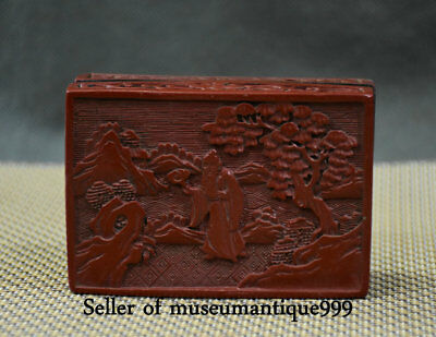 7CM Ancient China Red lacquerware Dynasty Old Man Hill Tree jewelry Box Casket