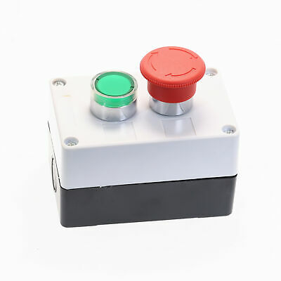 DC 24V Green Signal Lamp NO Red Stop NC Momentary Push Button Switch Control Box
