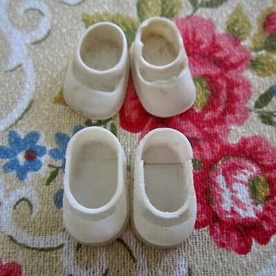 12 Vintage Doll Shoes all white Plastic Individual & Pairs Hong Kong