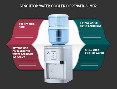 Aimex Water Cooler Dispenser Bottle 8 Stage Filter Purifier Bench Top 20L Silver