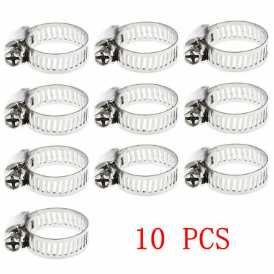 """10pcs/pack 3/8""""-5/8"""" Stainless Steel Drive Hose Clamp Fuel Line Worm Clip Nice"""
