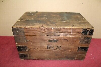 Old Wooden Luggage Storage Chest Box Trunk Flat Top - Vintage Collectable