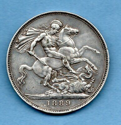 1889 Sterling Silver Crown Coin. Queen Victoria. Jubilee Head. 5/-