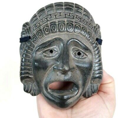 Modern Copy of An Ancient Greek Tragedy Drama Mask Engraved Details Wall Hang