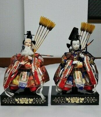 BEAUTIFUL Japanese Vintage Gofun Samurai Warrior Musha Sword Figures 2 dolls