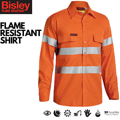 Bisley Hi Vis Flame Resistant Fire Work Shirt with Reflective Tape Safety 3M
