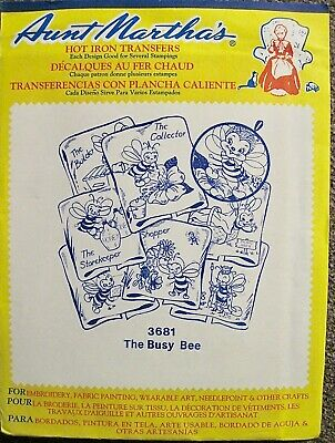 """Vintage UNCUT Aunt Martha's """"The Busy Bee"""" Embroidery Transfer Pattern #3681"""